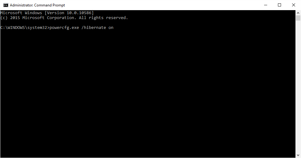 Bật chế độ Hibernate từ cửa sổ Command Prompt trong Windows 10