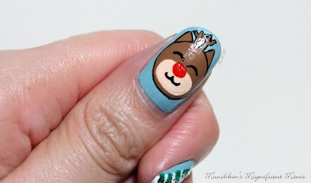 Christmas Nail Design, Rudolph