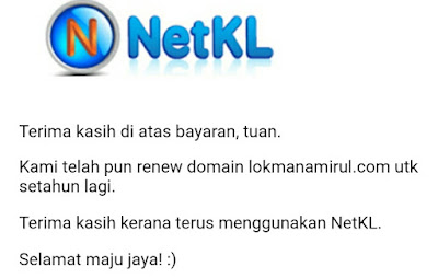 Done Renew Domain Lokmanamirul.com di NetKL
