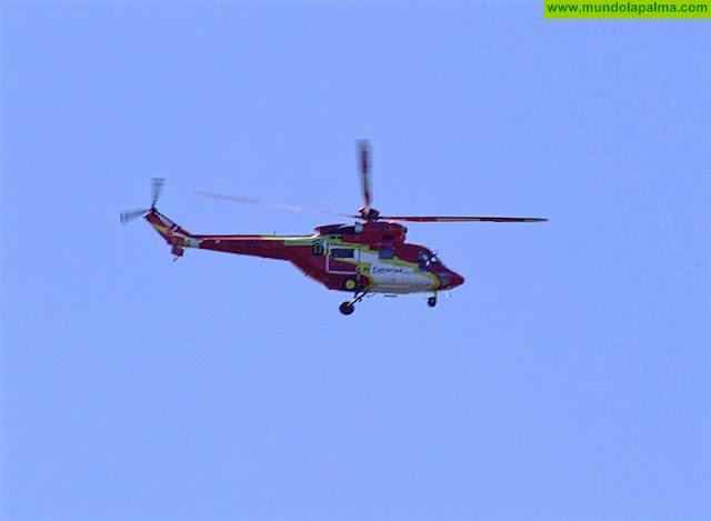 Helicóptero del GES rescató a ayer a una senderista que sufrió una caída en El Paso