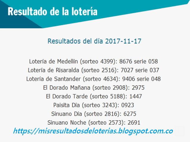 Como jugo la lotería anoche | Resultados diarios de la lotería y el chance | resultados del dia 17-11-2017