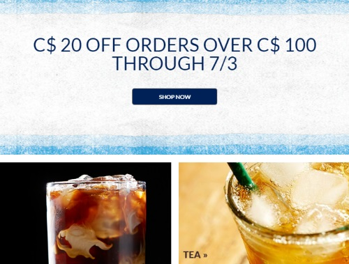 Starbucks $20 Off Any $100 Order