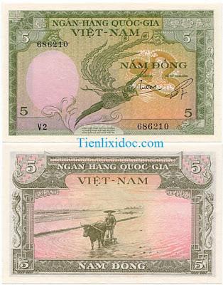 5 đồng việt nam cộng hòa 1955 lần 2