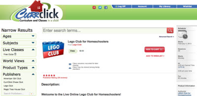 Free On-line Lego Club for Homeschoolers @ Currclick
