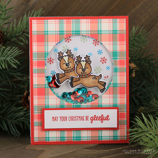 Sunny Studio Stamps: Gleeful Reindeer Shaker Christmas Card by Juliana Michaels.
