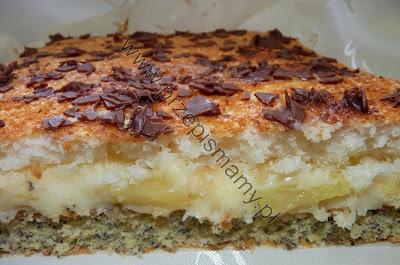 Ciasto makowe z kremem i kokosem
