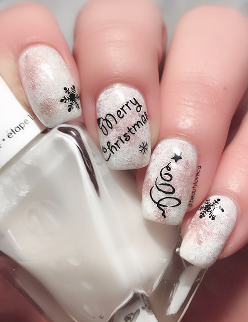 12 NAILS OF CHRISTMAS: Contemporary Black, White & Rose