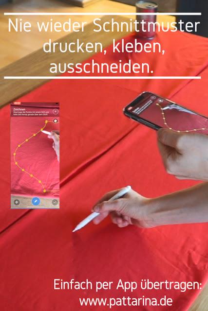 Pattarina - Nie wieder Schnittmuster drucken, kleben oder abpausen, sondern einfach mit dem Handy übertragen. Jetzt zum Testen anmelden auf www.pattarina.de!