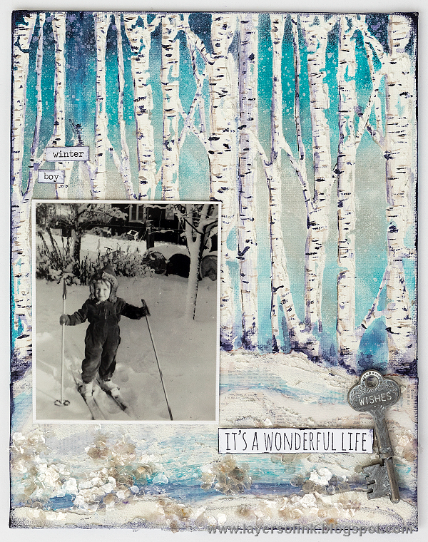 Layers of ink - Birch Trees Mixed Media Panel by Anna-Karin