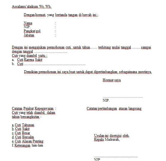 contoh surat izingurutidak masukmengajar