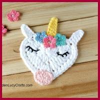 Aplique uniconio a crochet
