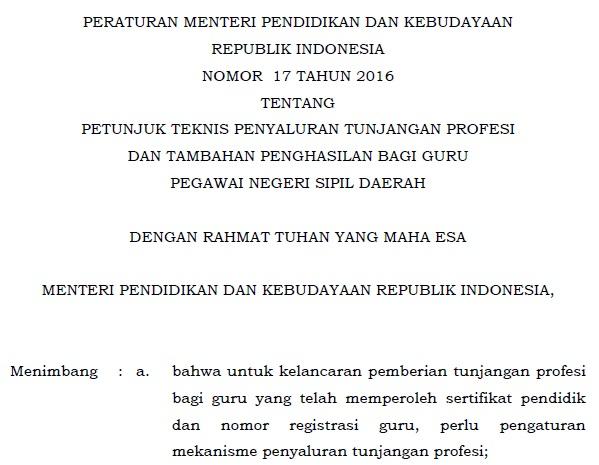 Download Permendikbud Nomor  Tentang Juknis Penyaluran Tunjangan Profesi Dan Tamsil Guru Pns Daerah