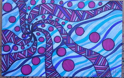 A pen and ink doodle meditation in blues and purples and a blurb about Spring cleaning.