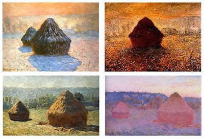 Monet's haystacks 4 paitings explore the same scene at various times of day, with various light effects