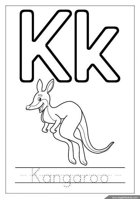 Printable English alphabet coloring page - letter k coloring