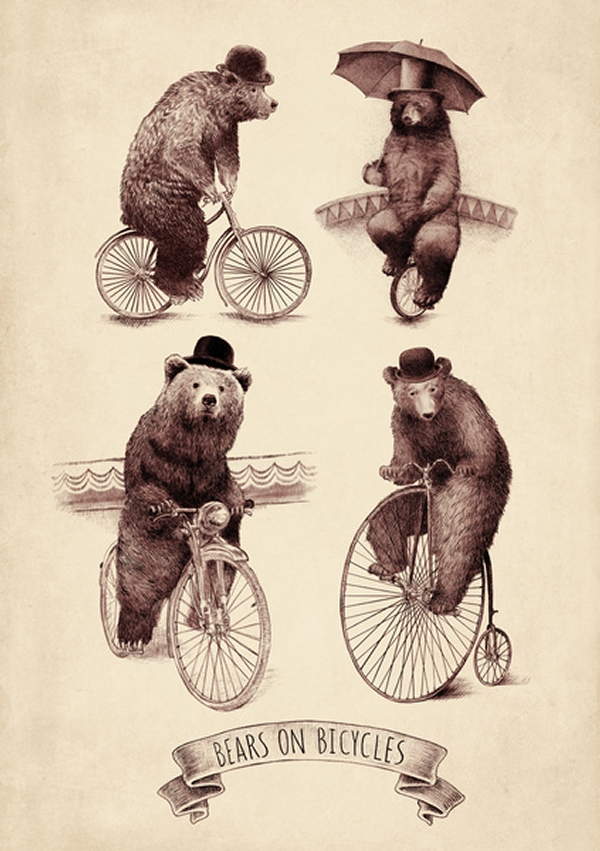 04-Bears-on-Bicycles-Eric-Fan-Illustration-of-Fantasy-Characters-in-Surreal-Worlds-www-designstack-co