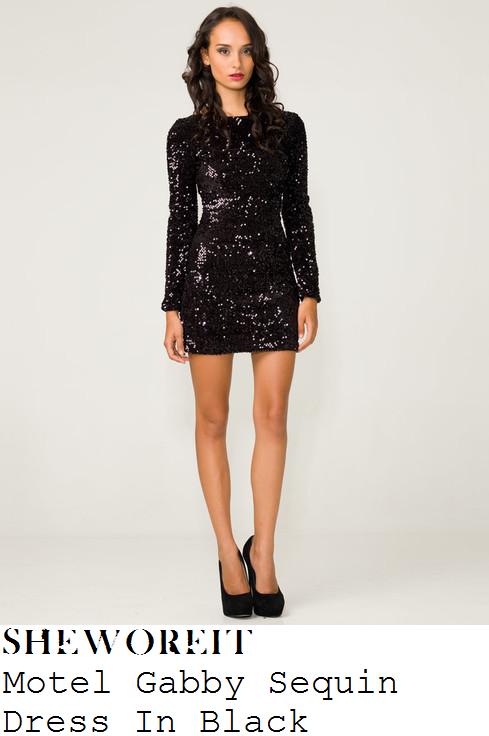 8a75b5c831ef Candy McCulloch's Motel Gabby Black Long Sleeve Sequin Mini Dress With High  Neck & Deep V Back