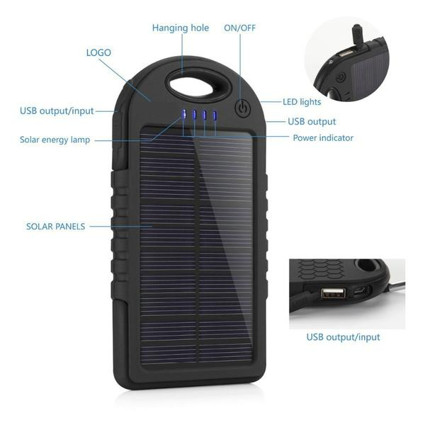Waterproof Super Solar Power Bank 5000mah