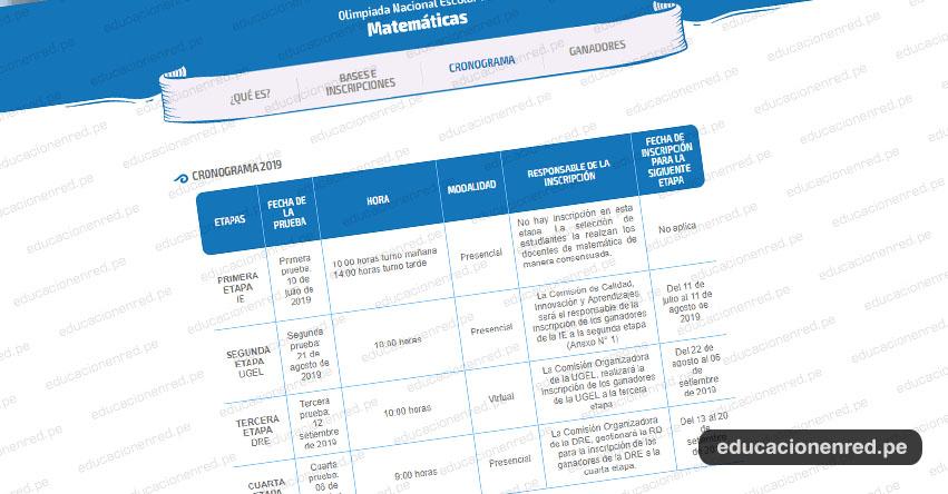 ONEM 2019: Cronograma - Olimpiada Nacional Escolar de Matemática - MINEDU - www.minedu.gob.pe