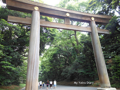The Huge Torii entrance gate to the Meiji Jingu Shrine, Tokyo