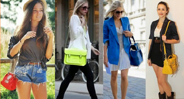 Mulheres usando bolsas femininas coloridas