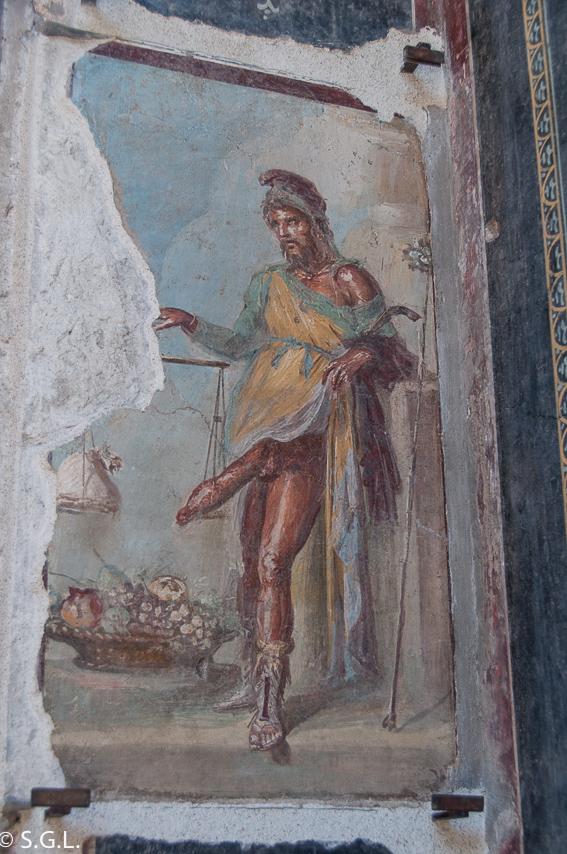 Detalle casa Vettii Pompeya, las ruinas de la ciudad romana