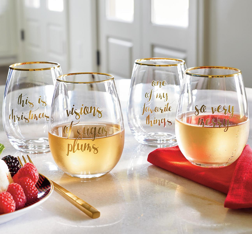 GRANDIN ROAD FESTIVE PHRASES STEMLESS WINE GLASSES, SET OF FOUR