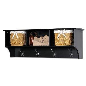 Cubbie Shelf With Hooks Prepac Sonoma Black Entryway