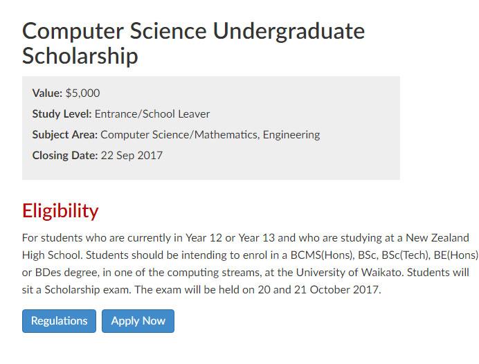 University of Waikato in New Zealand Computer Science Undergraduate Scholarship Apply Online