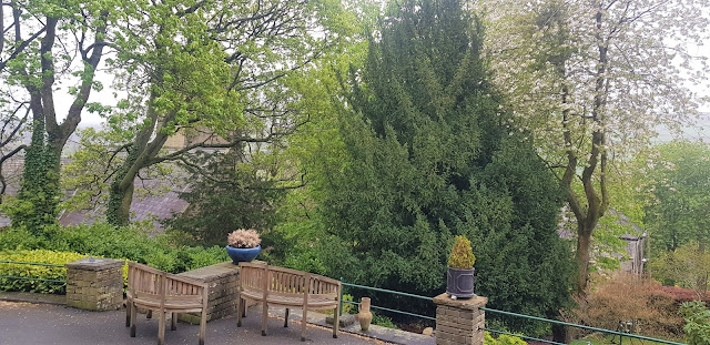 The garden at Sunnybank Guesthouse with a neat seating area surrounded by well maintained trees and flowers