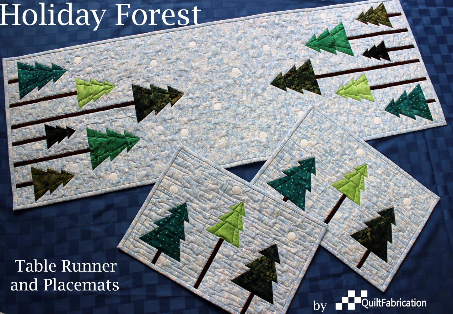 Made With A Variety Of Green Batiks For Trees And A Pretty Blue Snowflake  Print For The Background, This Runner And Place Mat Set Celebrate The  Christmas ...
