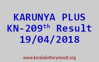 KARUNYA PLUS Lottery KN 209 Result 19-04-2018