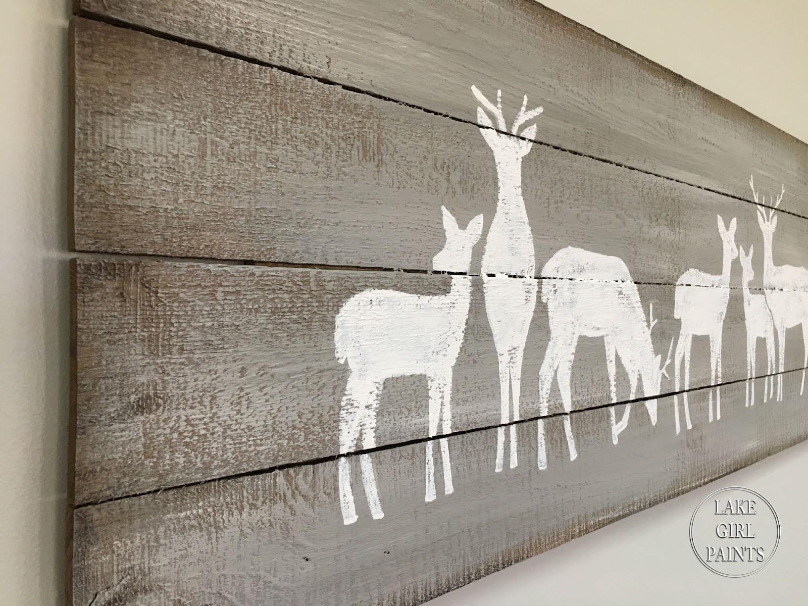 Lake Girl Paints Planked Wood Art Reindeer Row