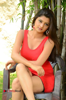 Actress Poojitha Pictures in Red Short Dress at Bullet Movie Opening 0085