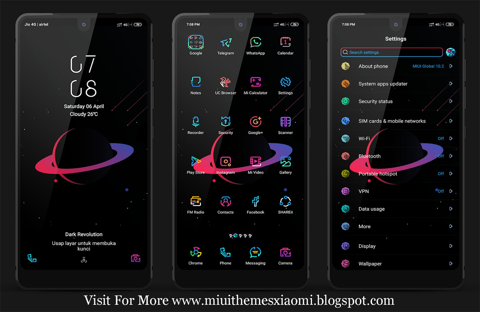 Dark Revolution V10 MIUI Theme Download For Xiaomi Mobile