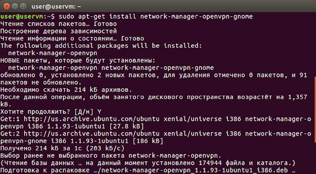 sudo apt-get install network-manager-openvpn-gnome