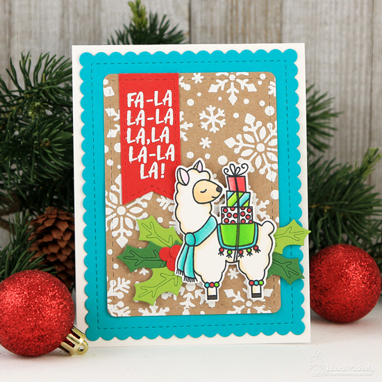 Christmas Llama Card by Juliana Michaels | Llama Delivery Stamp Set, Snowfall Stencil, Pines & Holly Die Set and Frames & Flags Die Set by Newton's Nook Designs #newtonsnook #handmade