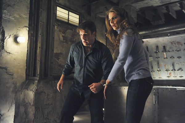 Castle - Richard Castle and Kate Beckett handcuffed together trapped in a basement