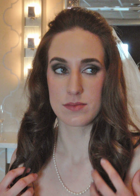 bride with smoky eye makeup