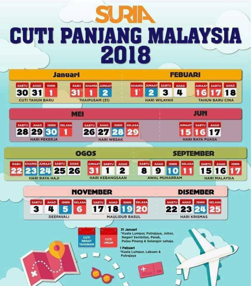 Infografik Tarikh Cuti Panjang Malaysia Tahun 2018