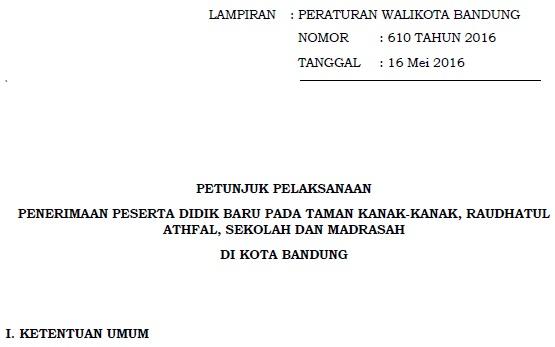 Download Juknis PPDB Jenjang SD, SMP, dan SMA/SMK Kota Bandung 2016/2017