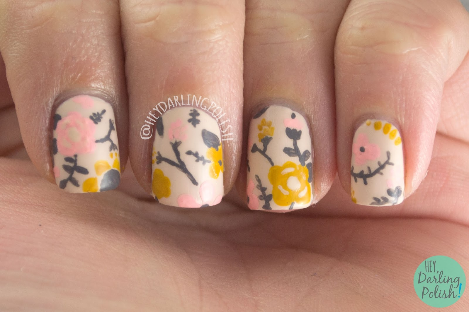nails, nail art, nail polish, floral, flowers, acrylic paint, vintage, freehand, hey darling polish