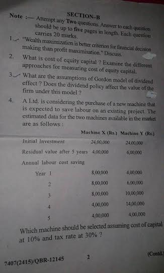 Financial Management last year question paper of mcom 2nd sem