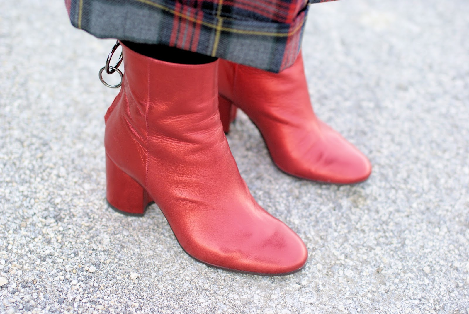 Metallic red boots on Fashion and Cookies fashion blog, fashion blogger style
