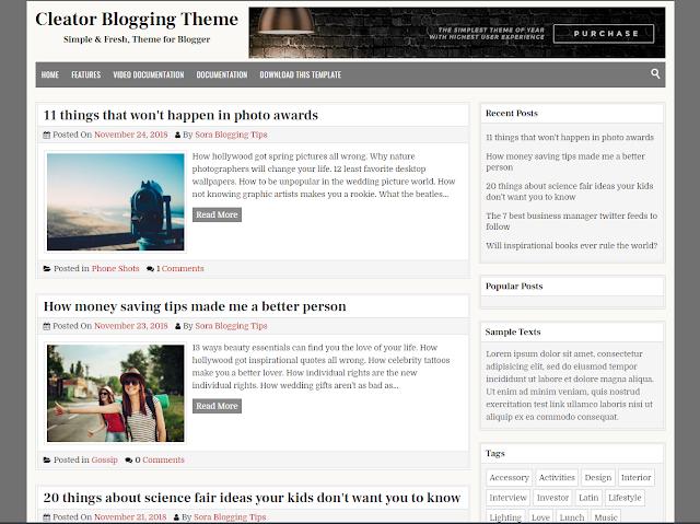 Cleator Blogger Template adalah Theme Blogger yang bersih dan elegan, dibuat untuk mereka yang ingin menjadi blogger dan ingin mempromosikan media yang paling menarik