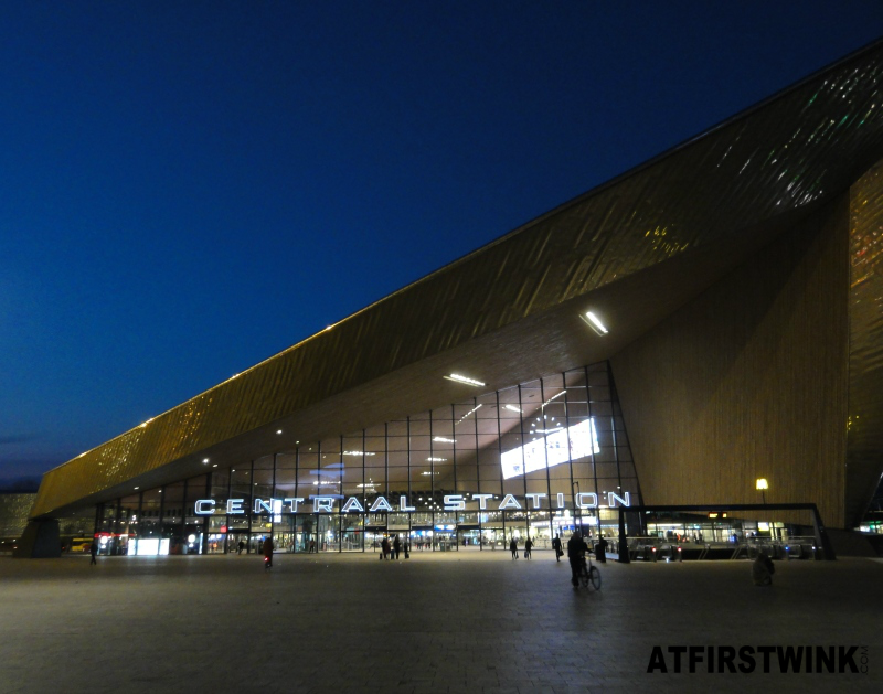 Rotterdam Central station train Netherlands at night