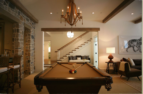 Basement with pool table