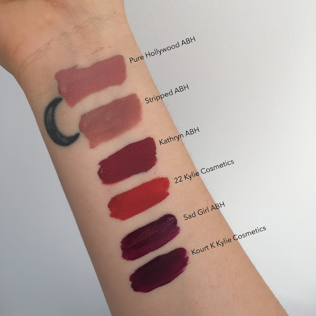 swatches, anastasia beverly hills, kylie cosmetics, liquid lipstick