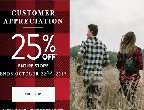 Roots Customer Appreciation Sale 25% Off