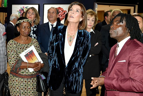 Model Noella Coursaris Musunka and Princess Caroline of Hanover will visit Democratic Republic of Congo. Knightsbridge Bonhams, velvet jacket